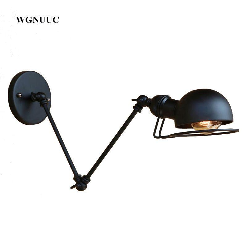 New Vintage industrial style loft creative minimalist long arm wall lamp adjustable Handle Metal Rustic Light Sconce Fixtures