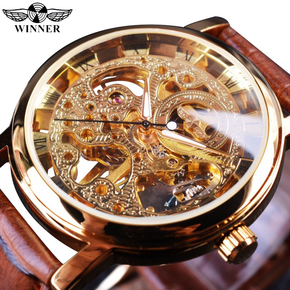 Winner Transparent Golden Case Luxury Casual Design Brown Leather Strap Mens Watches Top Brand Luxury <font><b>Mechanical</b></font> Skeleton Watch