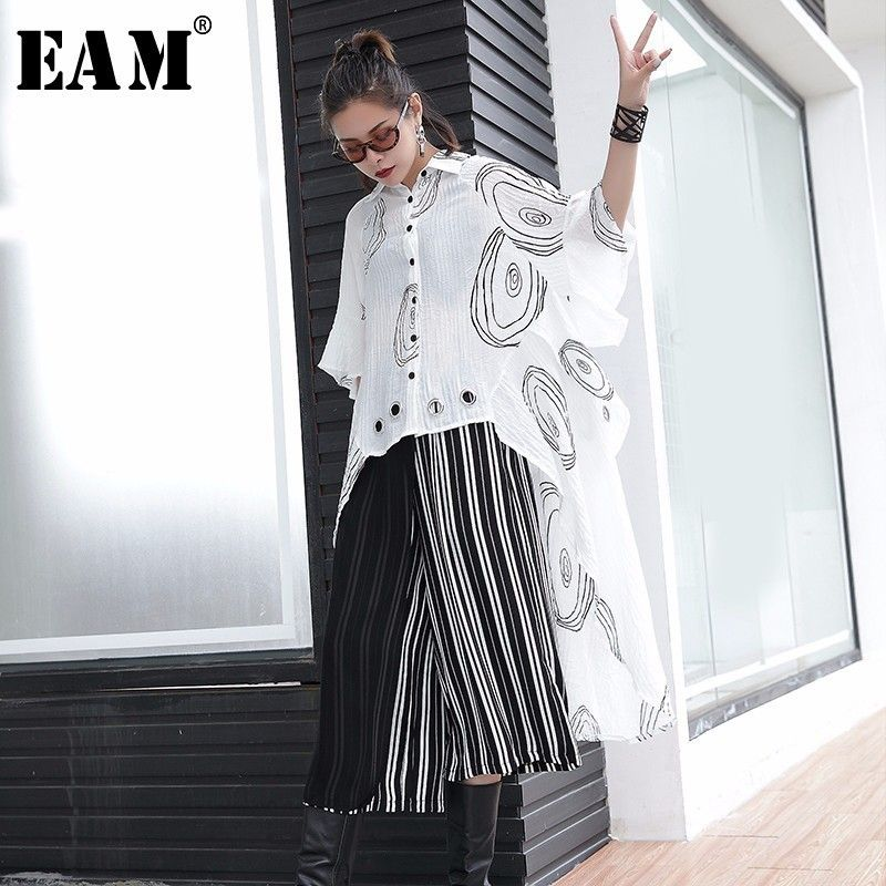 [EAM] 2018 New Summer Lapel Short Sleeve Letter Printed Metal Hem Irregular Hollow Out Big Size Dress Women Fashion Tide JF313