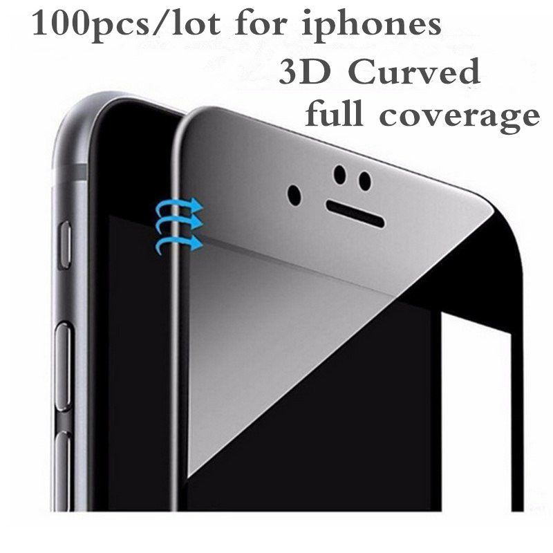100 Pcs 3D Curved Carbon Fiber Soft Edge Tempered Glass For iPhone 6 6S 7 8 Plus Phone Screen Protector Film For iPhone 7 8 X