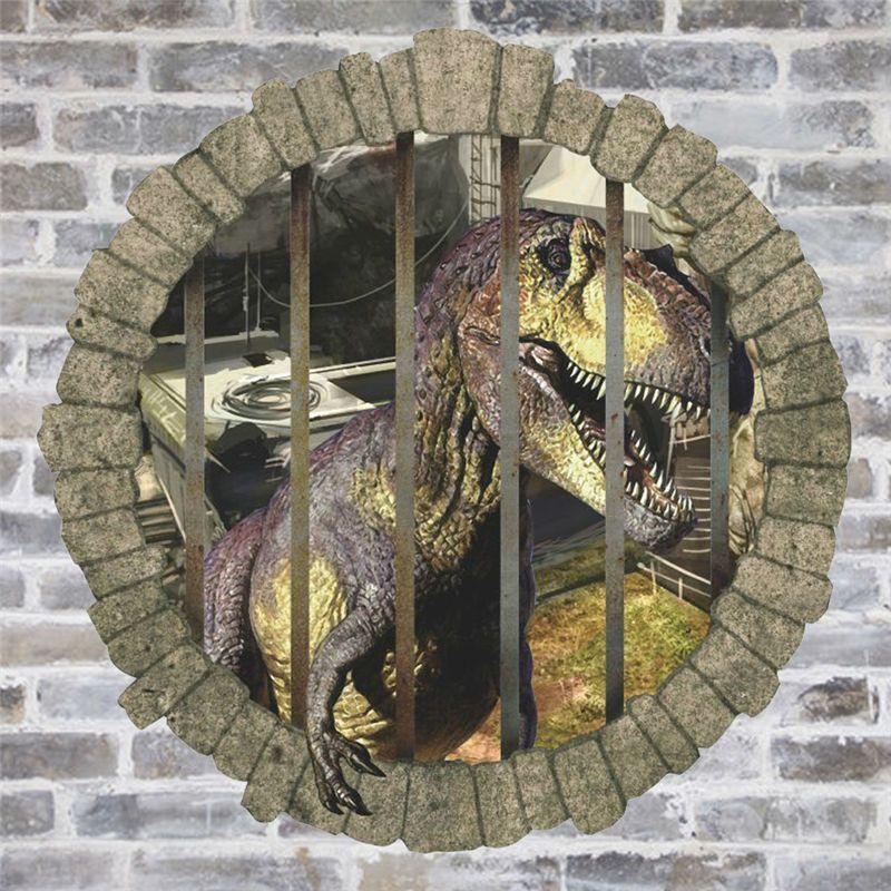 3d dinosaurier durch die wand aufkleber jurassic alter hause dekoration kinderzimmer wandtattoo film animals wand kunst 1448.