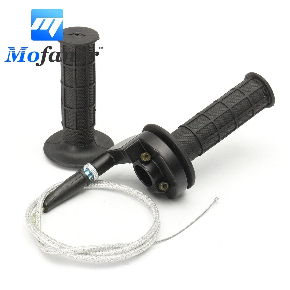 Motorcycle Black Throttle Handle Bar Grips With Throttle Cable Pit Bike 22mm 7/8