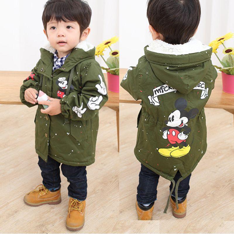 Baby Boys Girls Hooded Jacket Coat Spring Winter Kids Windbreaker for Boy Plus <font><b>Thicken</b></font> Fleece Velvet Outerwear Children Clothes