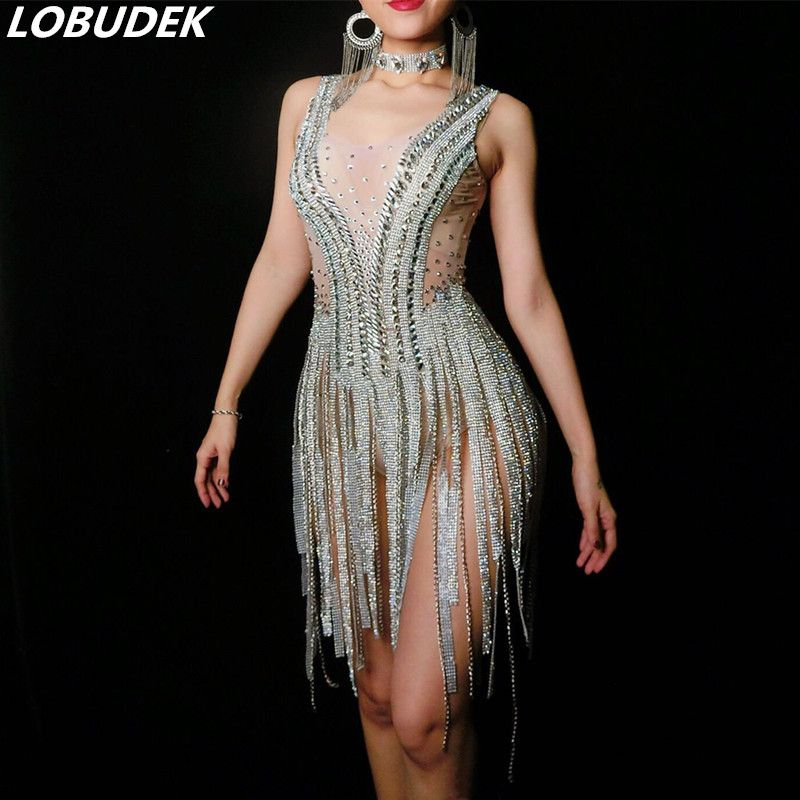 Shining dress Silver Crystal catsuit female costumes DS nightclub singer dancer jazz DJ sexy clothes stone star prom Novelty