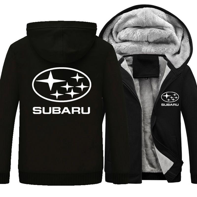 Hot New Winter Coat Car Subaru Logo Thickening Warm Sweatshirts Men's Cotton Casual Coat Fleece Sweatshirts Mens Hoodies