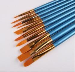 10Pcs/Set Watercolor Gouache Paint Brushes Different Shape Round Pointed Tip Nylon Hair Painting Brush Set Art Supplies