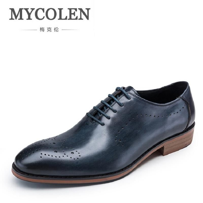 MYCOLEN Men Leather Shoe Custom Handmade Genuine Leather Men Wedding Shoes Minimalist Men's Dress Shoes Italian calzado hombre