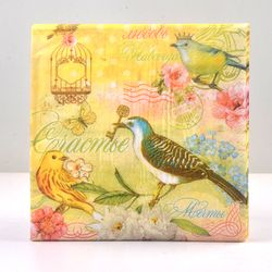 20pcs Table napkins paper tissue printed flower rose bird servilletas decoupage vintage yellow wedding birthday party decoration