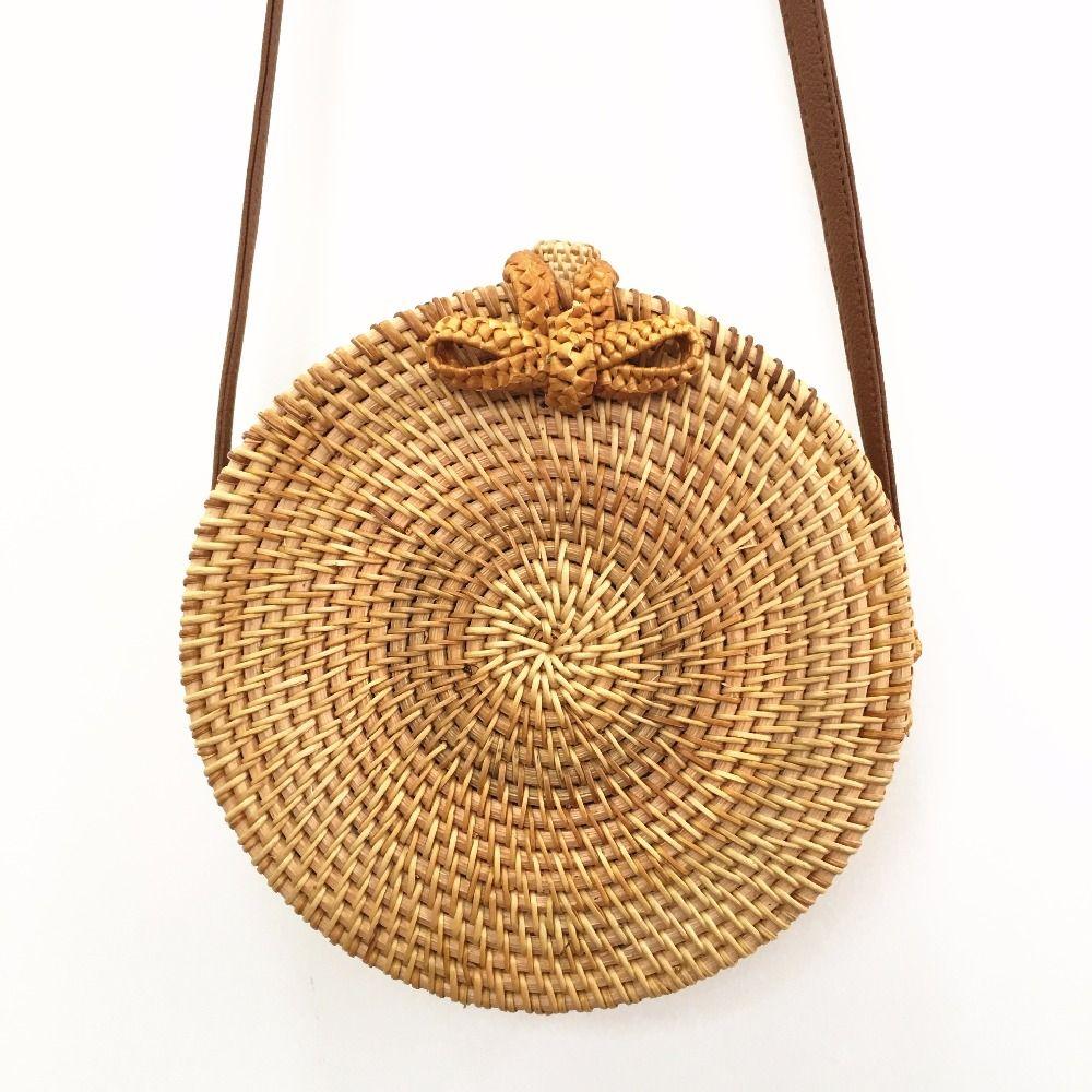 Bali Rattan Bags For Women 2018 Summer Beach Shoulder Bag Handmade Woven Crossbody Circle Bag Bohemia bowknot Straw Handbags