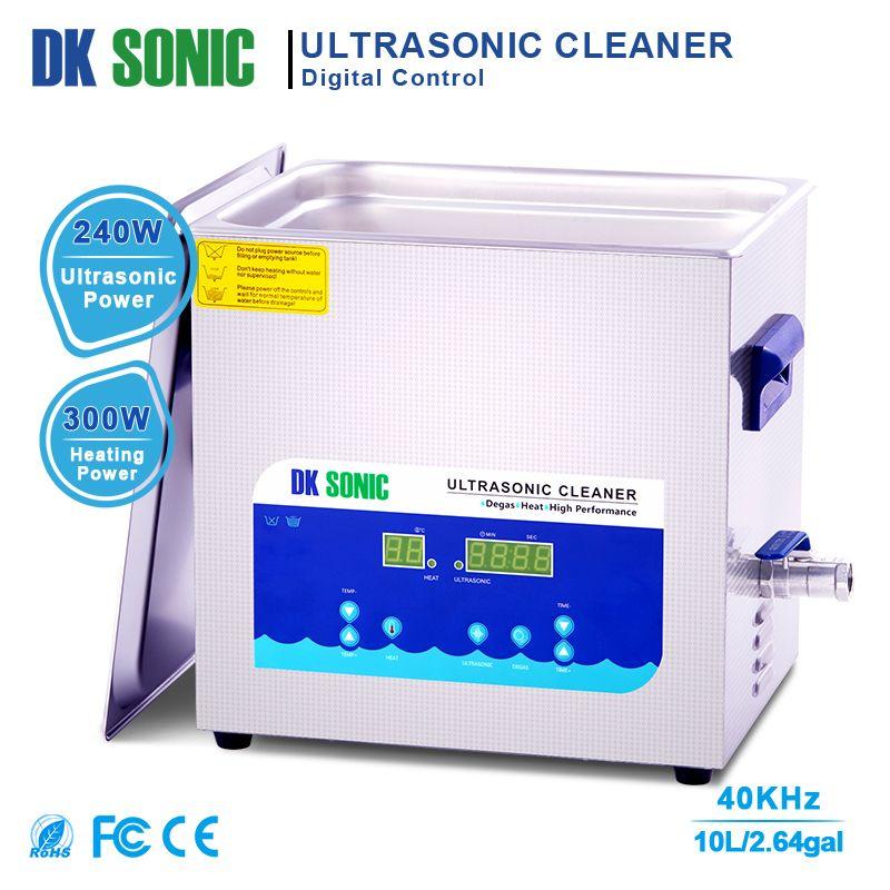 DK sonic 10L 240W Entgasung Timer Heizung Ultra sonic Reiniger Bad für Teile Schmuck Messing Brillen Ring Vergaser Kraftstoff injektor