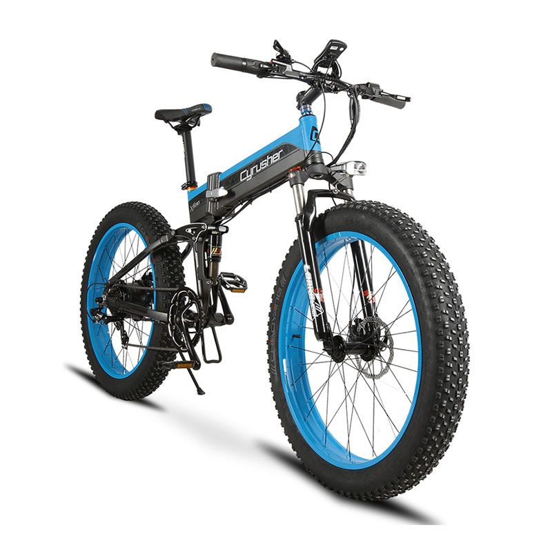 Cyrusher XF690 Folding Electric Fat Bike 500W 48V 10AH Li-Battery Full Suspension 7 Speeds 26