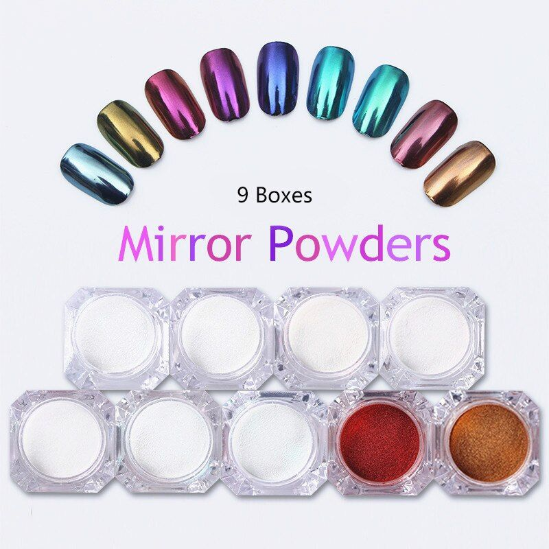 9 Boxes Mirror Nail Glitter Powder Gold Blue Purple Dust Powder Manicure Nail Art Glitter Chrome Pigment Decoration Set
