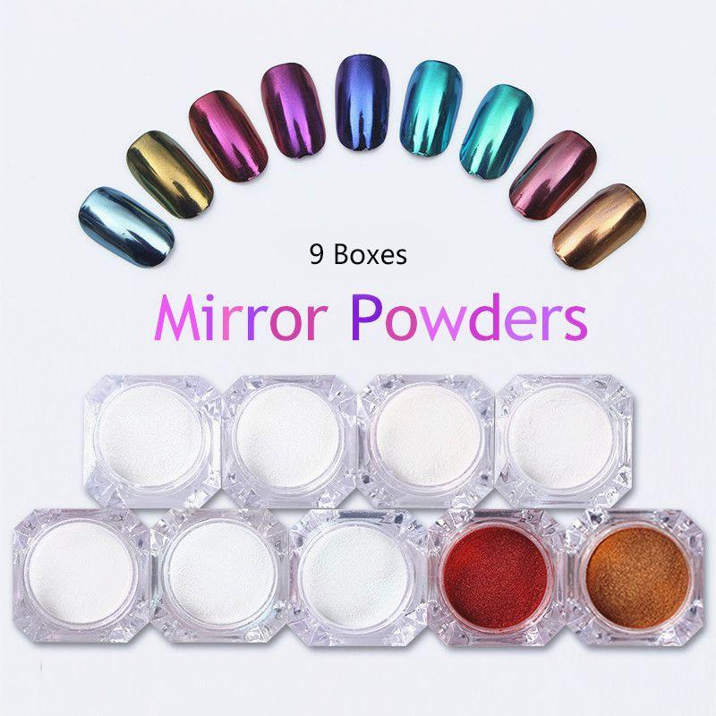 9 boîtes miroir ongle paillettes poudre or bleu violet poussière poudre manucure Nail Art paillettes Chrome Pigment décoration ensemble