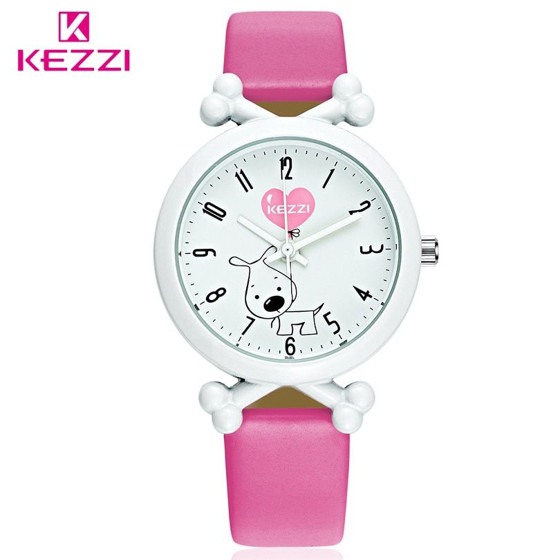 KEZZI Brand New Arrival Cute Cartoon Dog Waterproof Kids Watch Funny Bone Dial Watch Leather Strap Import Movement Watches