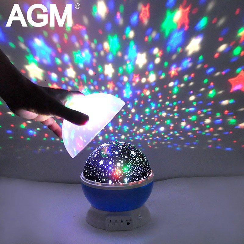 AGM Stars Starry Sky LED Night Light Star Projector <font><b>Moon</b></font> Table Lamp Lights Luminaria Novelty Nightlight For Kids Children Baby
