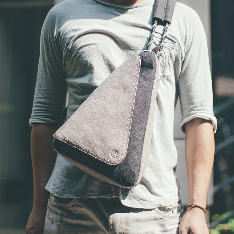D-park Multifunction Men's Chest Bag Canvas Shoulder Bag Fashion Casual Messenger Chest Bag Crossbody Sling Bags Male