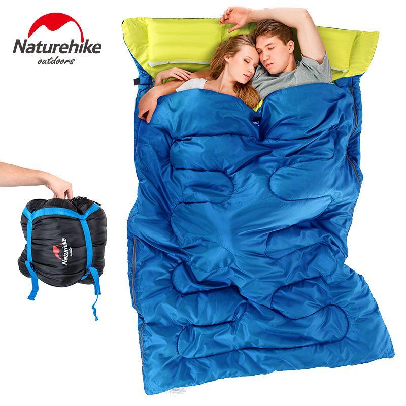 Naturehike двойной спальный мешок 3 сезон Сверхлегкий конверт спальный мешок для взрослых Открытый Отдых Путешествия оборудования подушки