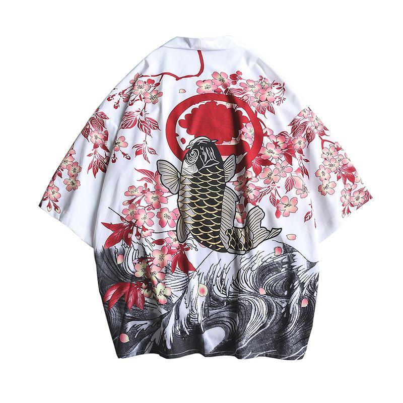 #4352 été hommes Kimono chemise de grande taille japonais Kimono Cardigan modèles point ouvert poisson grue imprimer Harajuku hommes vêtements