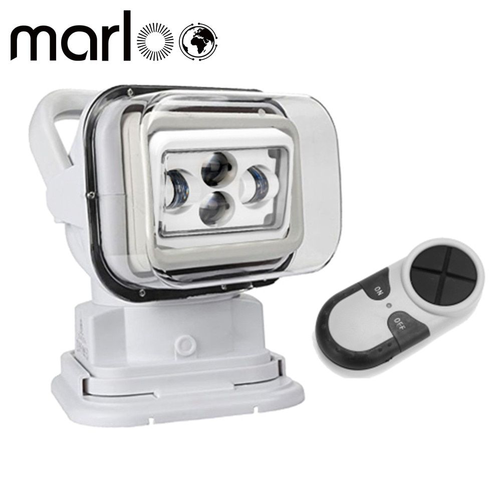 Marloo 4D 7Inch Led Searching Light 60W LED Remote Control Marine LED Spot Light 4x4 Headlights 12/24v for Off road boats trucks