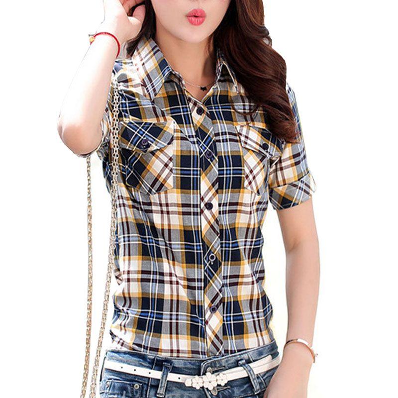 M-3XL Tops grande Taille Décontracté Manches Courtes Chemises À Carreaux Femmes Blouses D'été 100% Coton Chemise Bureau Travail Mince Chemise Femme blusa