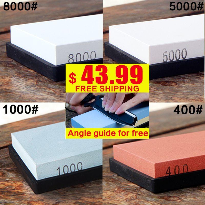 RSCHEF 4 pcs ensemble pierre à aiguiser 400 1000 5000 8000 grit professionnel couteau aiguiseur pierre à aiguiser couteau pierre angle guide livraison
