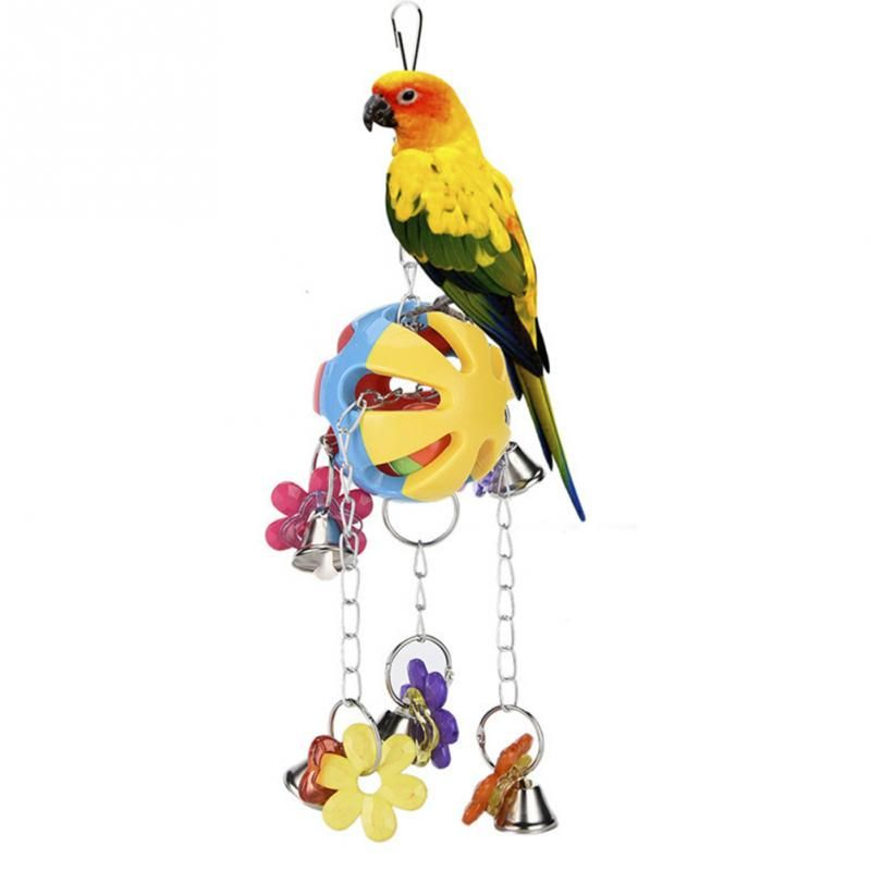 Acrylic Pet Bird Bites Parrot Toy With Bell Flower Shape Chew Ball Toys For Parrots Swing Cage Hanging Cockatiel