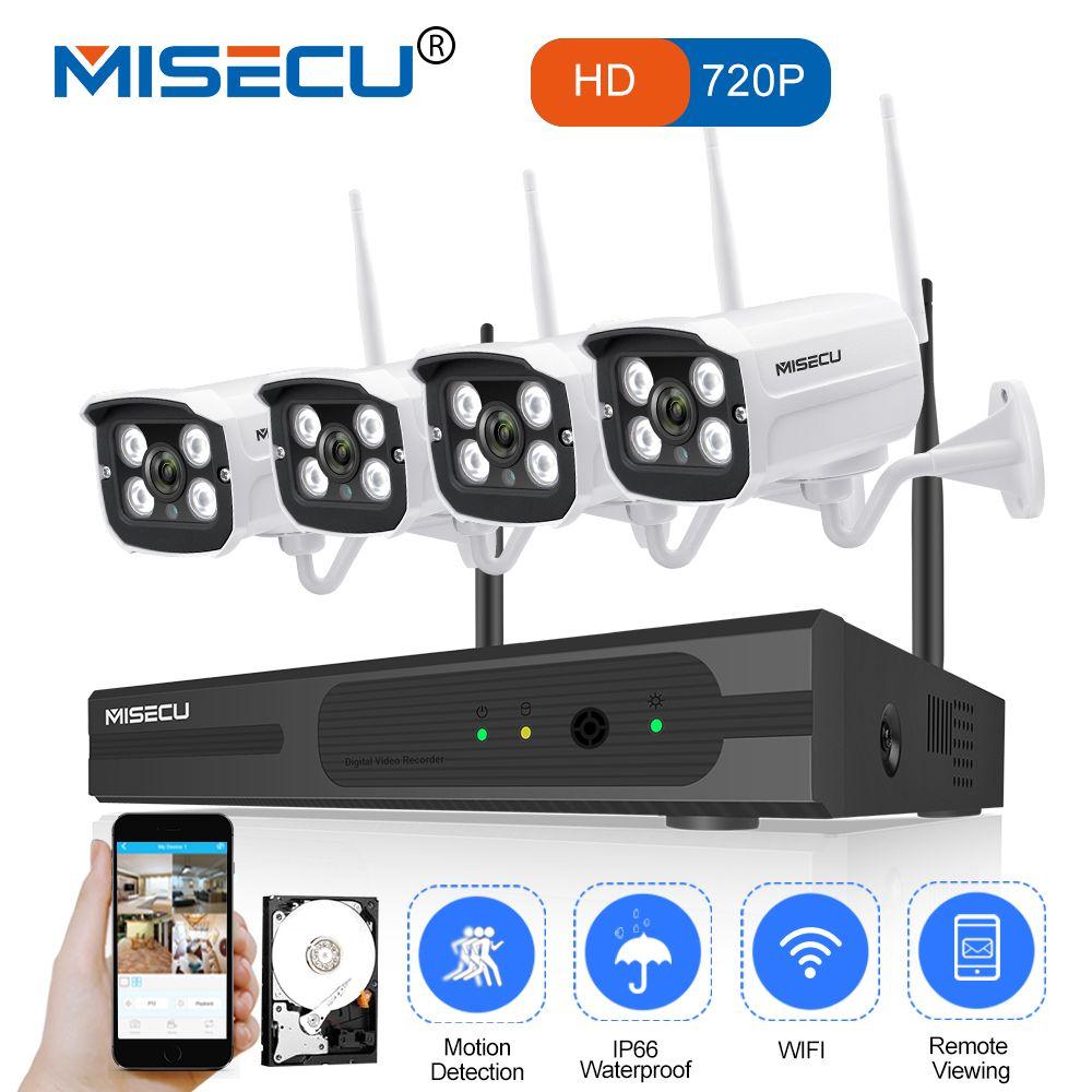 MISECU Easy installation plug play 2.4G wifi KIT <font><b>720P</b></font> 1080P VGA/HDMI 4CH NVR Wireless P2P <font><b>720p</b></font> WIFI IP Camera Waterproof CCTV