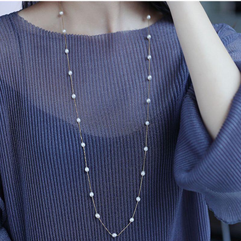 Véritable 925 collier en argent Sterling parfait collier ras du cou de perle naturelle 120 cm long collier pour les femmes bijoux de mode