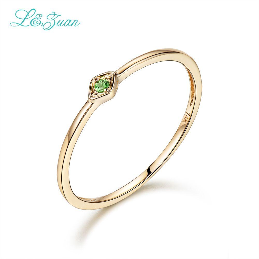 L & Zuan 14 K Jaune Or 0.029ct Naturel Ronde Petit Anneaux pour Femmes Vert Pierre Gemme Partie D'anneau de Bijoux princesse 0016-2