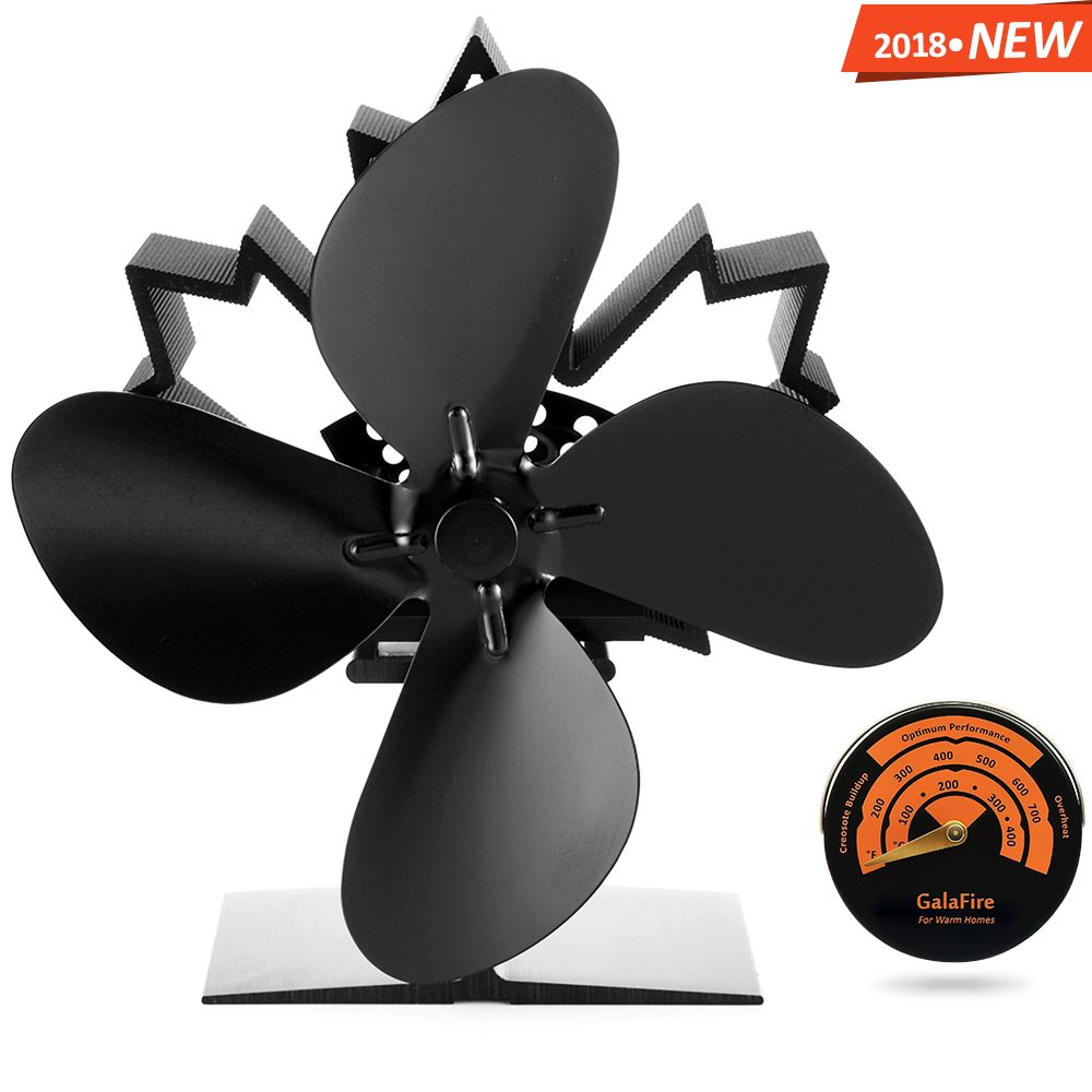 2018 New Arrival 4 Blade Heat Powered Wood Stove Fan 23% Fuel Cost Saving Aluminum Black + Gift Stove Thermometer Magnetic