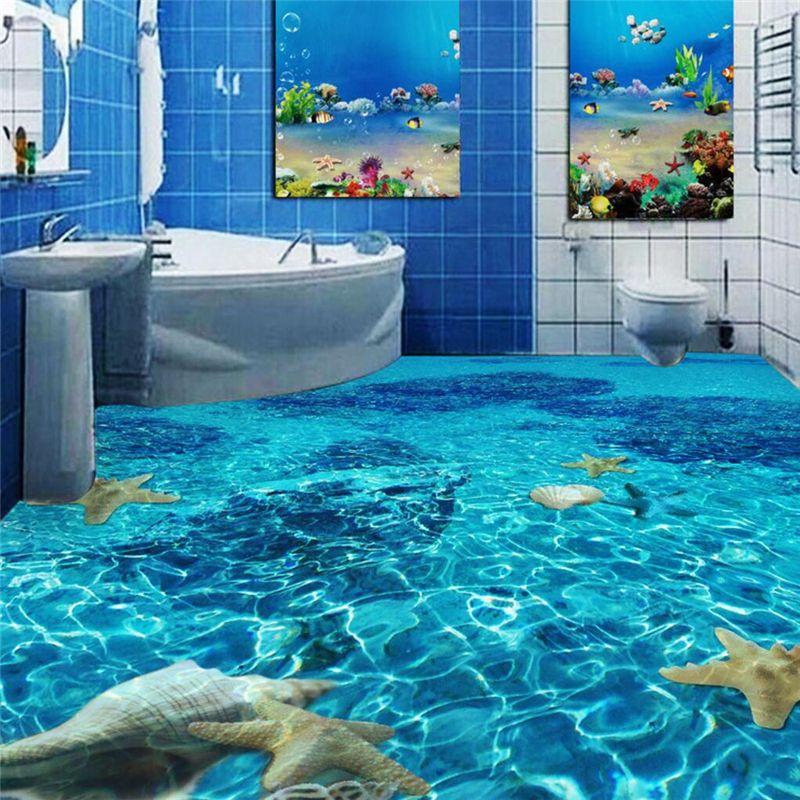 beibehang Sea starfish custom 3D wallpaper for walls 3 d flooring floor wallpaper for living room papel contact 3d floor tiles
