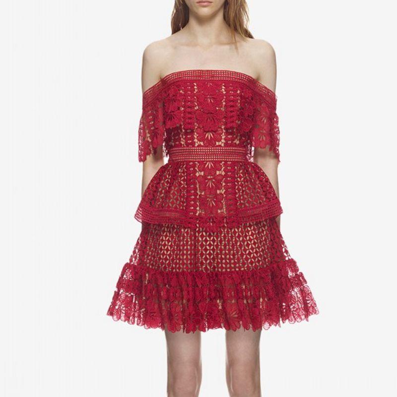 Auto Portrait Dentelle Robe Designer Robes Piste 2018 Haute Qualité Rouge Rose Sexy Off Épaule Robes