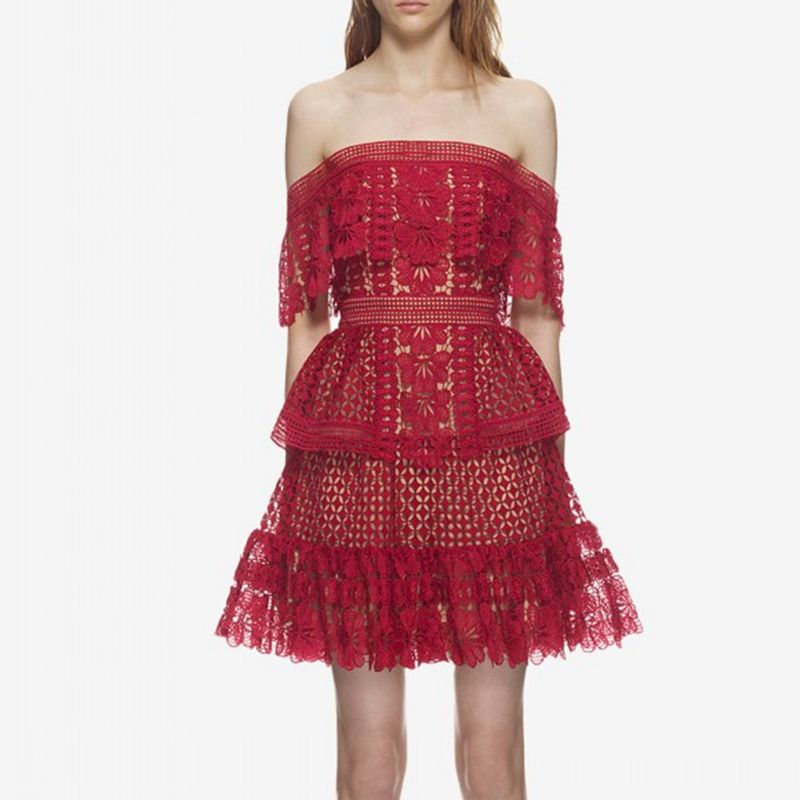 Self Portrait Lace Dress Designer Dresses Runway 2018 High Quality Red Pink Sexy Off Shoulder Dresses