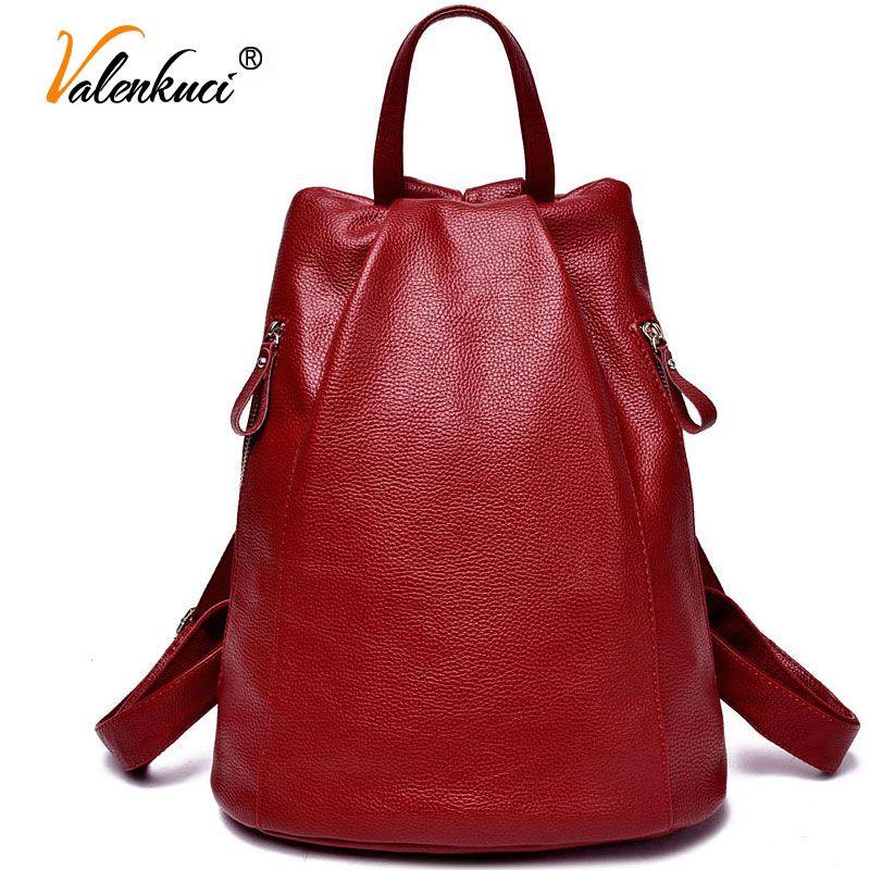 De cuero de las mujeres mochilas bolsas para mujeres bolsas para chicas universitarias viajan morrales del bolso de escuela estudiante mochila BD-001