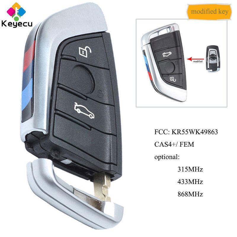 KEYECU Geändert Smart Fernbedienung Schlüssel Mit 3 Taste 315 MHz/433 MHz/868 MHz-FOB für BMW F Serie CAS4 +/FEM FCC: KR55WK49863