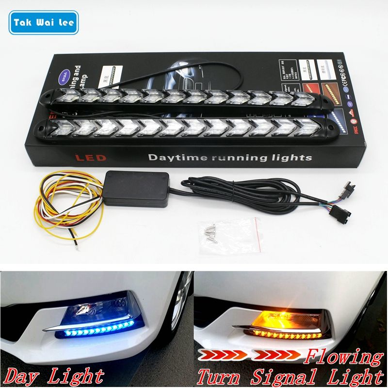 Tak Wai Lee 2Pcs LED DRL Daytime Running Light Car Styling Dynamic Streamer <font><b>Flow</b></font> Amber Turn Signal Warning Steering Fog Day Lamp