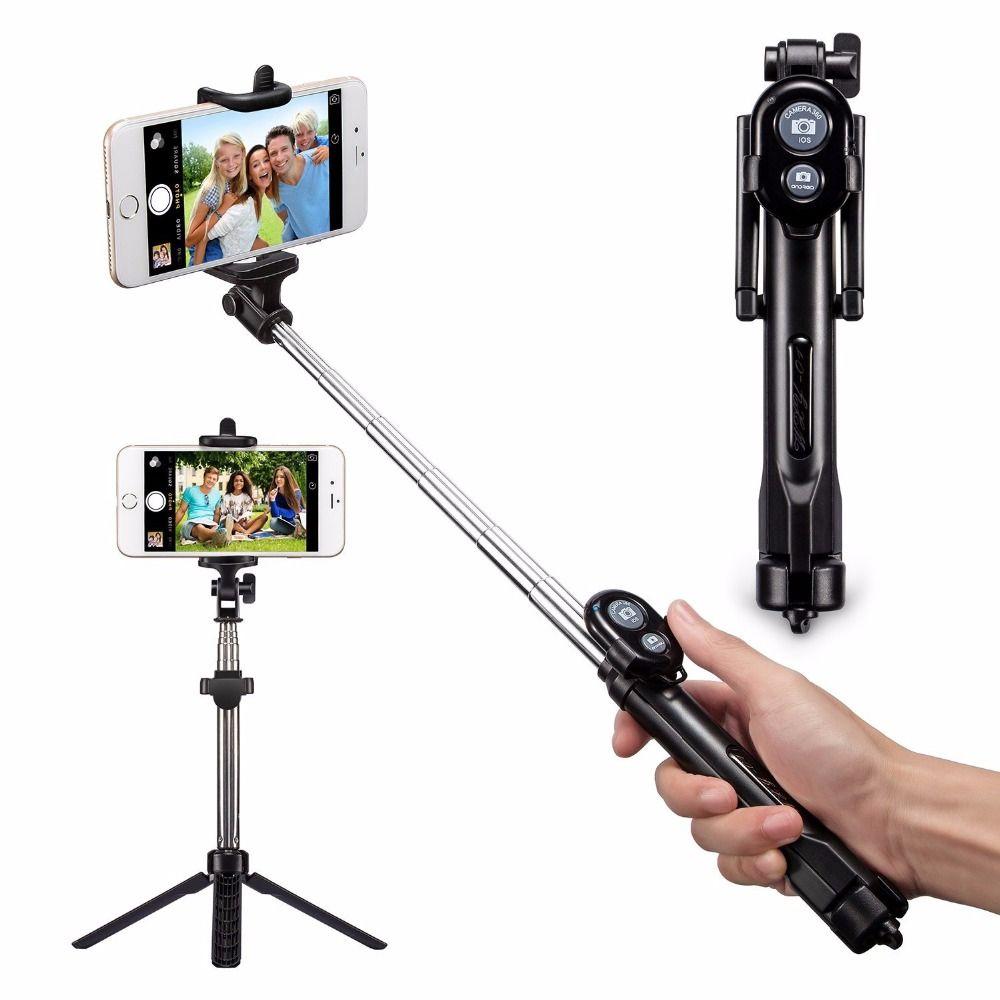 FGHGF Nouveau Pliable Trépied Manfrotto Selfie Bâton Bluetooth Avec Bouton Pau De Palo Selfie Bâton Pour Android iPhone Perche Selfies