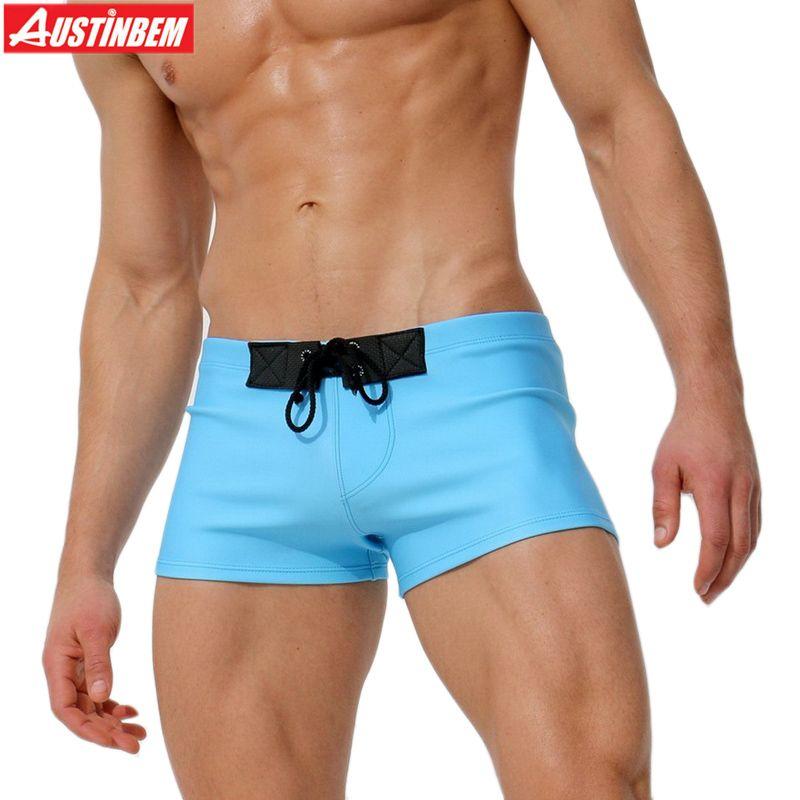 AUSTINBEM nouveau bleu café maillot de bain bandeau hommes Shorts maillot de bain maillots de bain hommes slips plage sport hommes maillot de bain 292