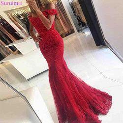 Spitze Applique Red Meerjungfrau Abendkleider 2018 Nach maß Gericht Zug Ärmellose Perlen Formale Emerald Green Party Abendkleid