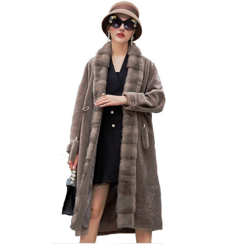 Mouton Coat female jacket women's jacket fur coat wool coat Women's winter jackets real fur women's fur coats winter