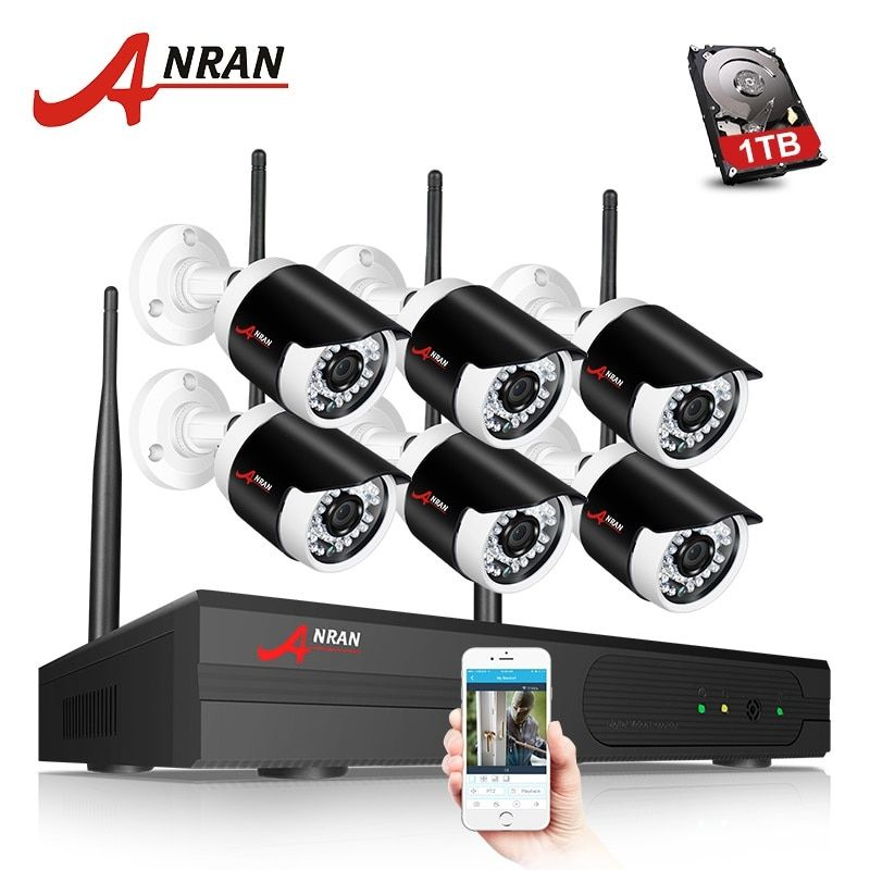 ANRAN 2MP 8CH WIFI NVR H.265 Security Camera System Wireless Plug and Play Outdoor NightVsion IR CCTV IP Camera System 2MP HD
