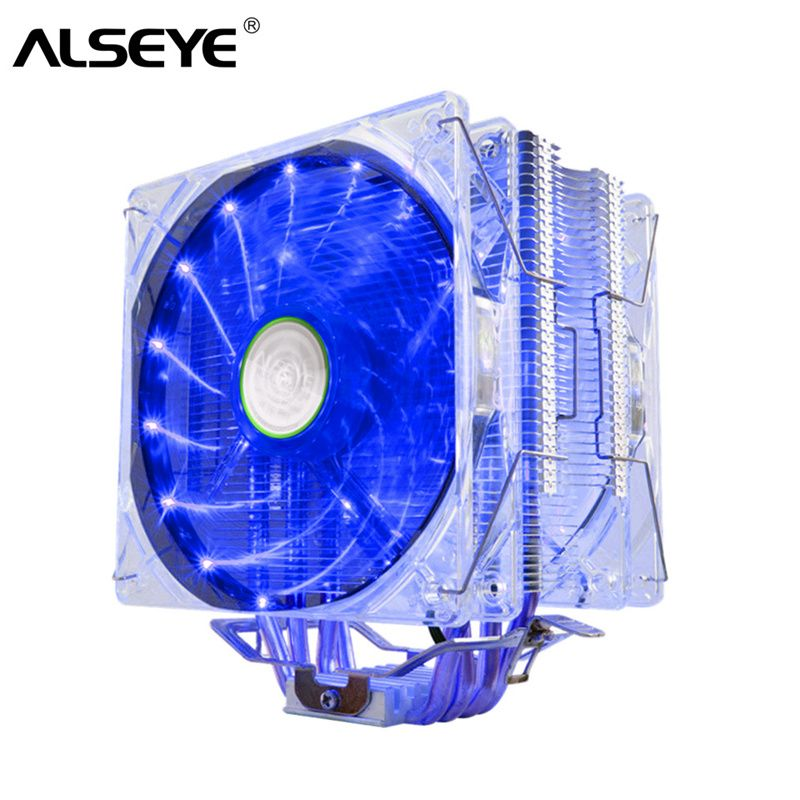 ALSEYE EDDY-120 cpu cooler 4 Heatpipes TDP 220W Dual PWM 4pin 120mm LED Fan Cooler for LGA 775/115x/AM2/AM3/AM4