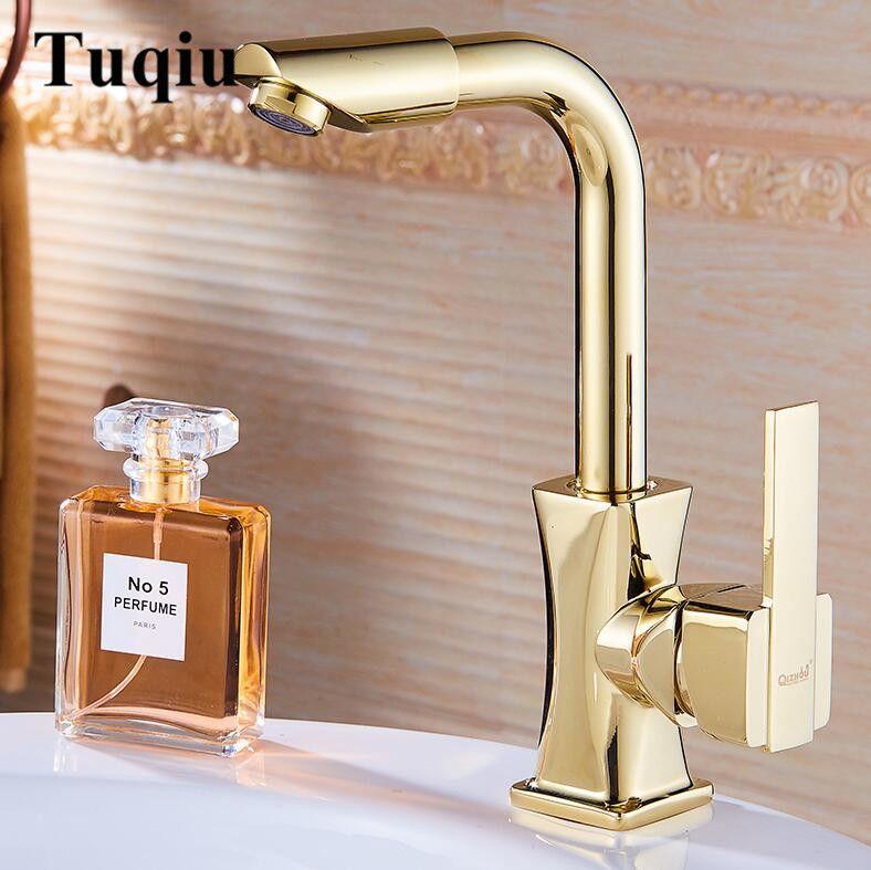 Nouveauté robinet d'eau or/or Rose/Chrome laiton salle de bain robinet évier robinet pivotant bec lavabo mitigeur