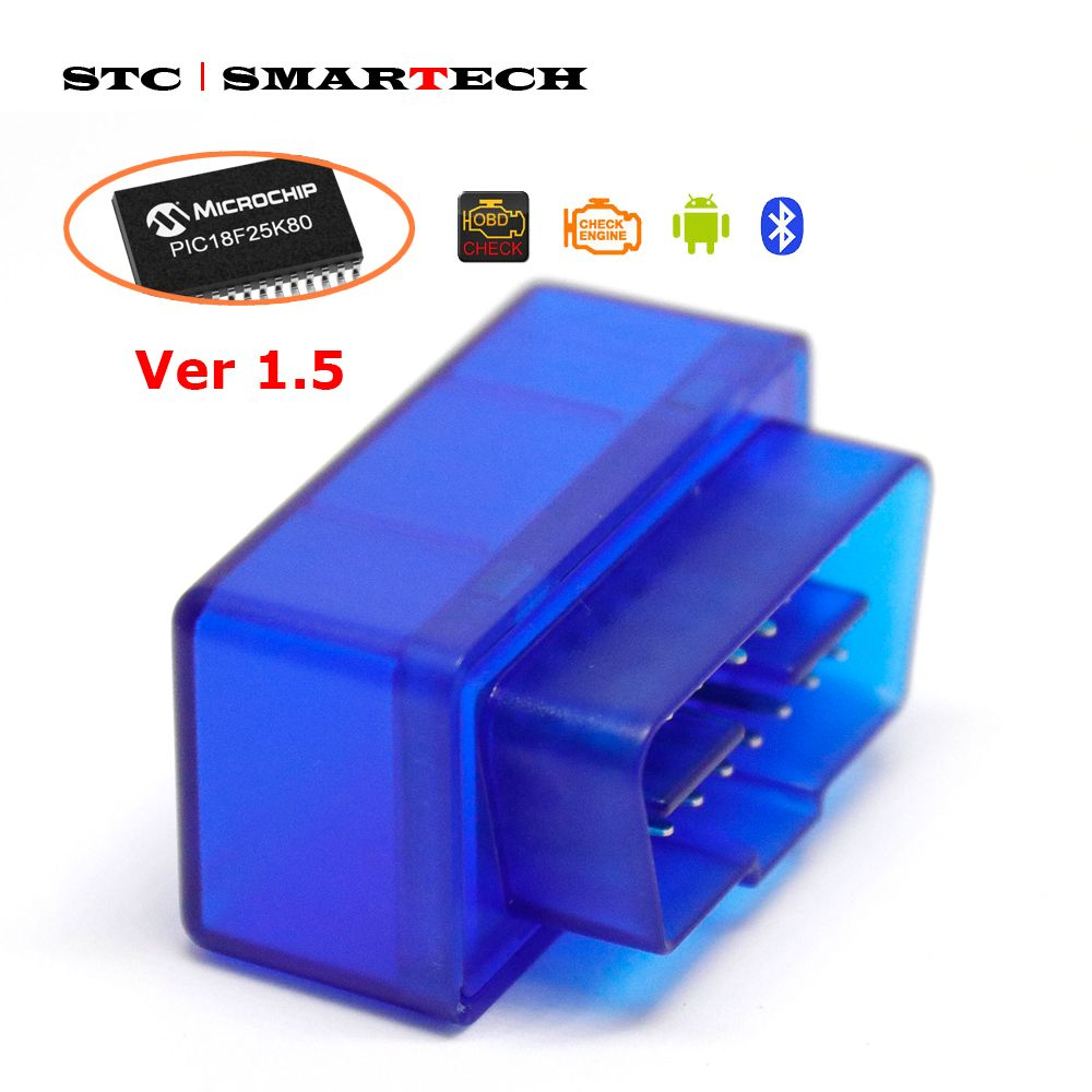 SMARTECH OBD2 Device ELM327 With PIC18F25K80 Version 1.5 OBDII for Android 7.1 8.0 8.1 Car Radio GPS Torque Car Code Scanner