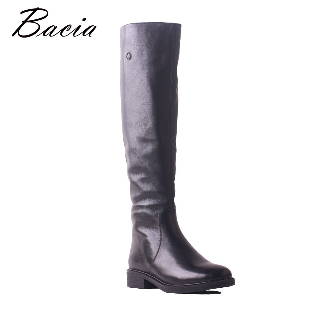 Bacia High Quality Shoes Brand Winter Low Heel Soft Genuine Leather Cow Long Boots High Knee Wool Fur Warm Women Shoes SB119