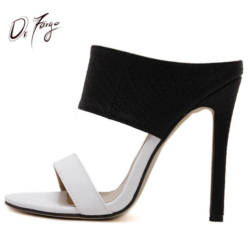 DRFARGO Haute Talon Sandales Stilettos Faux En Cuir Daim Mules Sandalias Sexy Femmes Glisser Pantoufle Dames De Mode D'été Zapatos