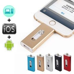 OTG Usb Flash Drive For iPhone X/8/7/7 Plus/6s/6s Plus/5/5s/SE ipad Metal Pendrive HD Memory Stick 8G 16G 32G 64G iFlash Driver