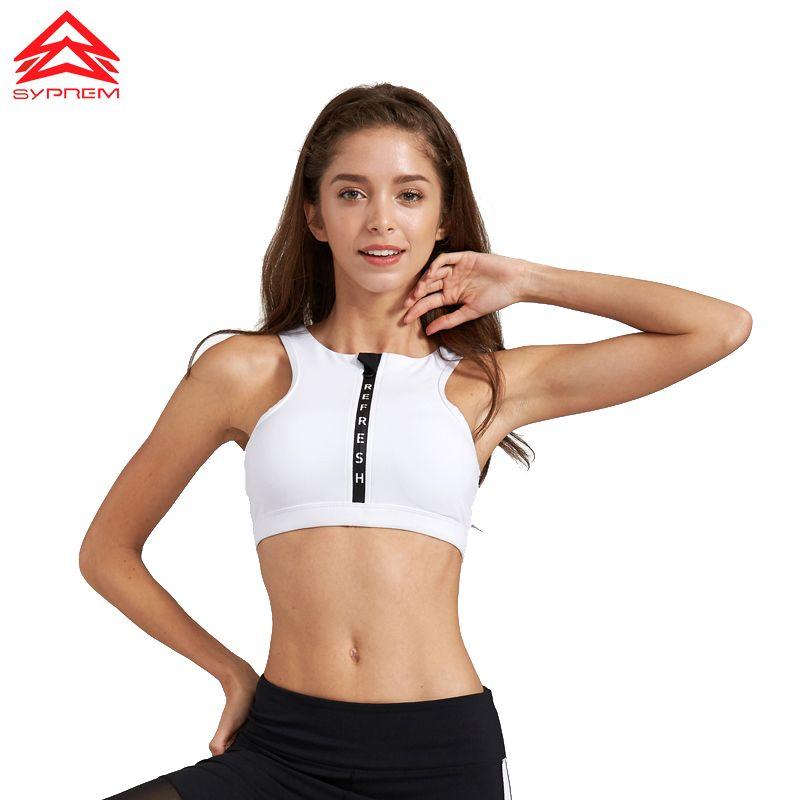 SYPREM 2017 Spring Fitness Sports Bra letter zipper yoga bra push up Full wrap-around sportswear sports bra ,1FT1052