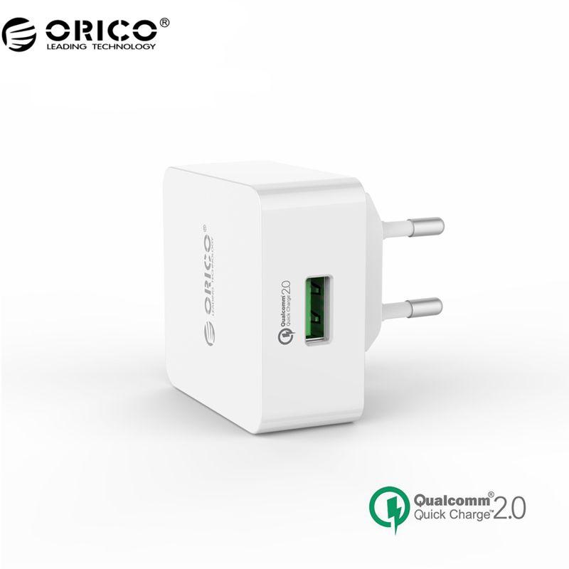 ORICO QCK-1U 1 Port Chargeur Rapide QC 2.0 USB Rapide Chargeur Chargeur Mural avec 80 cm Livraison Micro USB Câble (QCK-1U)