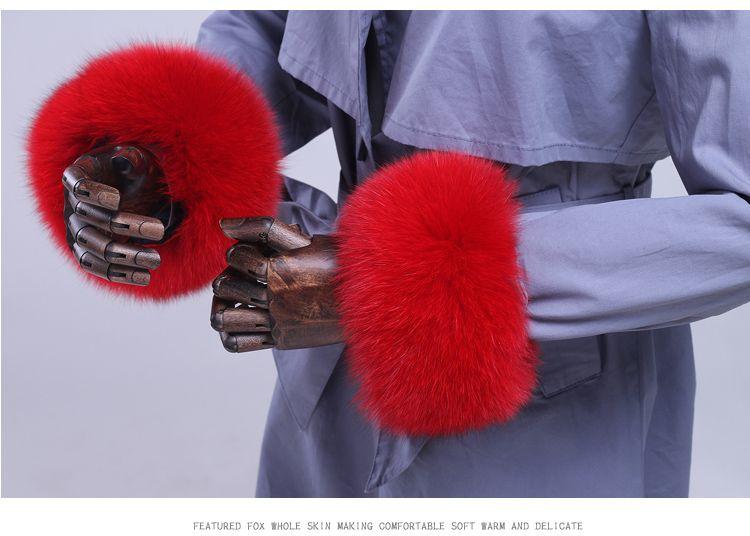 Fox fur Cuffs 2018 Genuine Fox Fur Cuff Arm Warmer Lady Bracelet Real Fur Wristband Glove Raccoon fur Cuffs PYCCKNN MEX